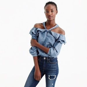 J.Crew Tall Off-shoulder tie neck in Chambray